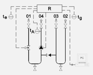 Schéma zapojení dvoucestný ventil oběhové čerpadlo