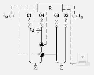 Schéma zapojení trojcestný ventil oběhové čerpadlo